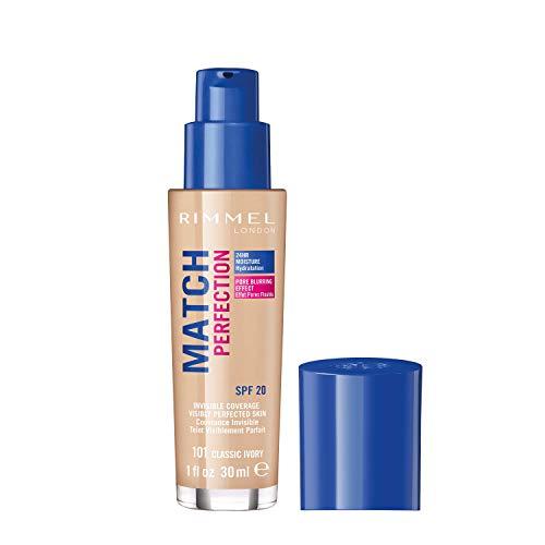 Rimmel London Match Perfection Foundation Base de Maquillaje Tono 101 Classic Ivory - 30 ml