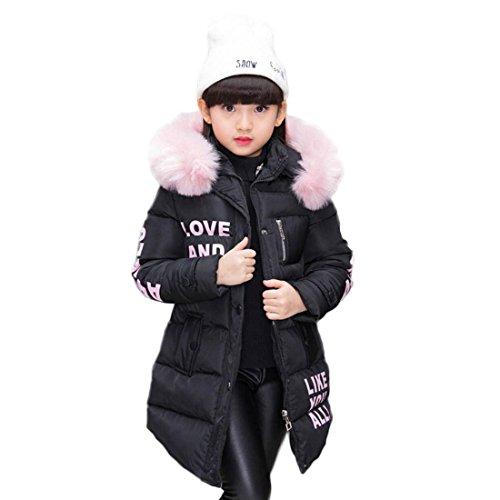Abrigo para niña con capucha de pelo, largo, Akaufeng, chaqueta de invierno con capucha de pelos, capa exterior, chaqueta infantil, color negro, tamaño 120 cm