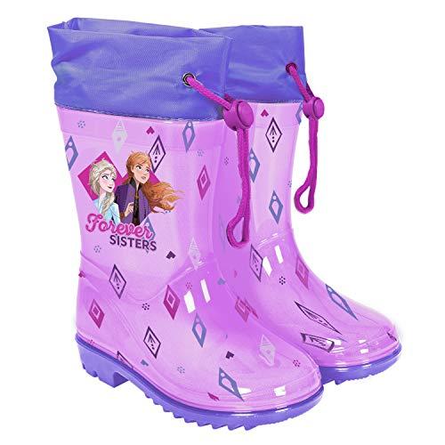 PERLETTI Botas de Aguas Niñas Frozen 2 Princesas Elsa y Anna - Calzado de Lluvia Reino del Hielo Violeta con Suela Antideslizante - Botas Impermeables Niña Cierre con Cordón Disney (Morado, 28)