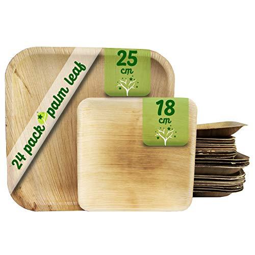 Platos desechables de hoja de palma 24 Piezas, 12 Platos cuadrados de 25 cm y 12 Platos de 18 cm. vajilla rustica de madera para barbacoas y fiesta de cumpleaños. Biodegradable libre de plástico.