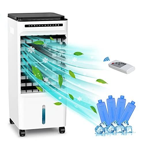 Climatizador Evaporativo, MELOPHY Aires Acondicionados móviles, Enfriador de Aire móviles mit 3 Velocidades, con Ruedas y Tanque de Agua, Aire Refrigerador Temporizador, Mando a Distancia