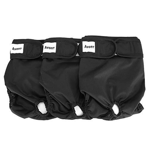 Avont 3 Packs - Pañales Lavables para Perras, Reutizables y Duraderos para Perros Hembra, Female Dog Diapers Altamente Absorbentes -L, 19'-27' Cintura, Negro