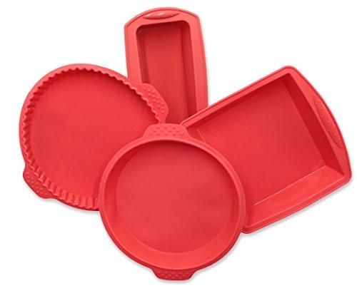 ZOLLNER24 4 moldes de repostería de silicona, para tartas y bizcochos, rojos
