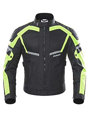 BORLENI Chaqueta de Motocicleta de Moto para Hombre, Respirable, Armadura Protección, reflexión de Alto Brillo, para Verano Primavera otoño XXL