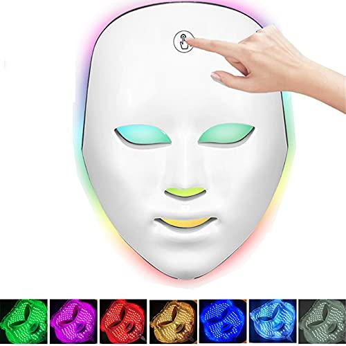 PEALOV Sistema LED de cuidado facial actualizado,7 colores Máscara facial con luz LED-No se requieren cables con botón táctil para el cuidado de la piel Limpiador facial Antienvejecimiento Antiarrugas