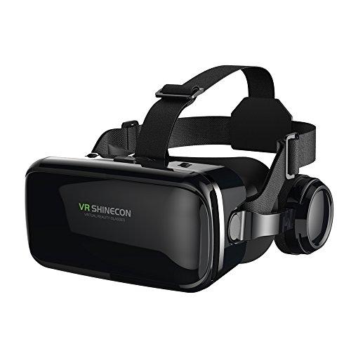 FIYAPOO 3D VR Gafas de Realidad Virtual, VR Glasses Visión Panorámico 360 Grado Película 3D Juego Immersivo para Móviles 4.7-6.6 Pulgada (Gafas VR con Auriculares)