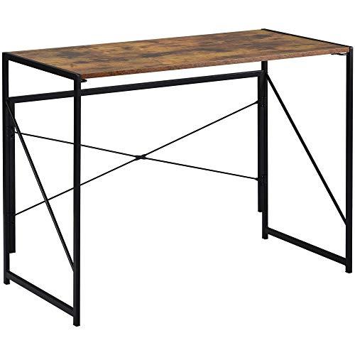 ModernLuxe Escritorio plegable para ordenador fácil de montar, escritorio de estudio, mesa de escritura, para el hogar, oficina, para adultos y niños, 100 x 50 x 75 cm, color marrón