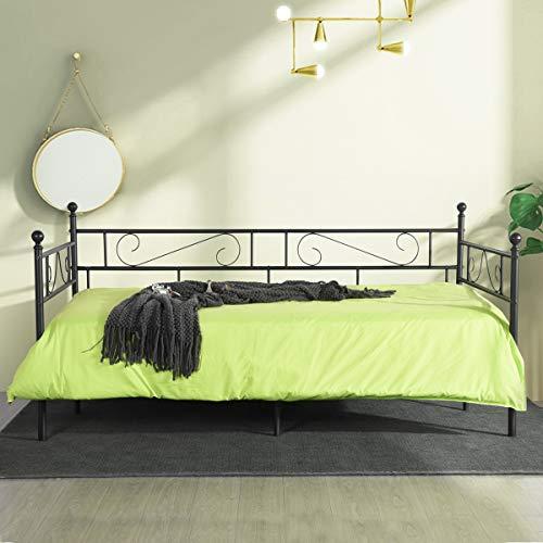 Sofá Cama Metálica Diván Cama para Dormitorio Salón Cuarto de Invitados,Adecuado para Colchón de 90 * 190 cm,Negro