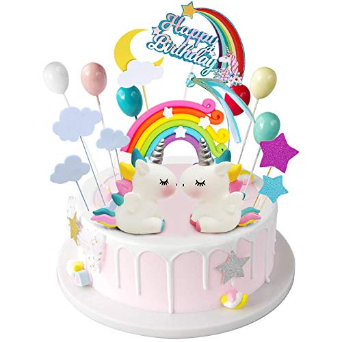 iZoeL Unicornio Decoración de Tartas Cumpleaños Happy Birthday Banderines Globos Arcoiris Estrella Cake Topper Decorar Tartas Infantiles Niñas