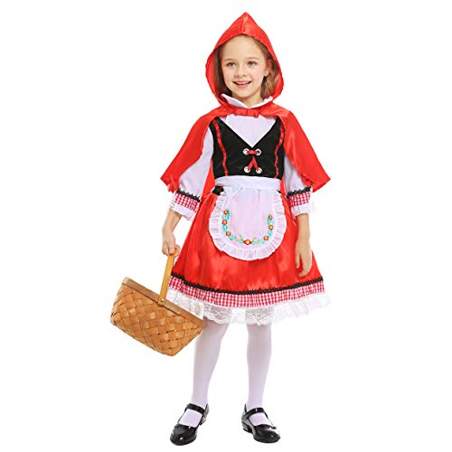 LOLANTA Disfraz de Caperucita Roja para niñas Disfraz de Cosplay de Halloween para niñas (5-6 años)