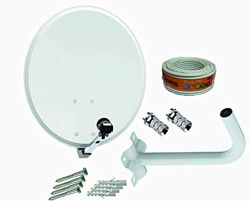 Kit Antena parabólica 60cm Tecnovoz + Soporte Pared + Rollo 20m TELEVES + LNB Universal