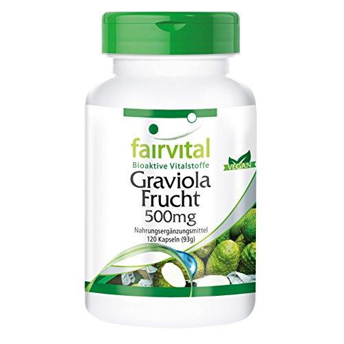 Graviola 500mg - Extracto de Fruta Guanábana (Annona muricata) - VEGANO - Dosis elevada - 120 Cápsulas - Calidad Alemana
