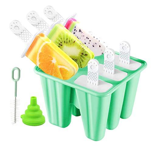 DIY Popsicle Mold - Reutilizable Molde Helado Silicona, Frozen PolerasHelado con Juego de Moldes 6 Pack con Embudo y Cepillo, Hacer Helados Caseros para Bebe, Niño y Adultos