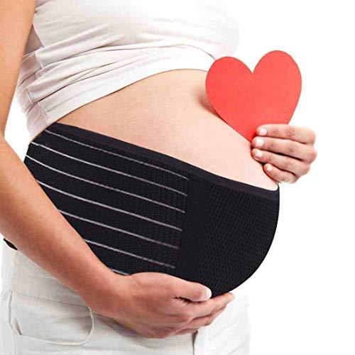 AIWITHPM Cinturón Apoyo Embarazada, Maternidad Faja, Premamá Banda - Aliviar el Dolor de Espalda, Ajustable (Negro)