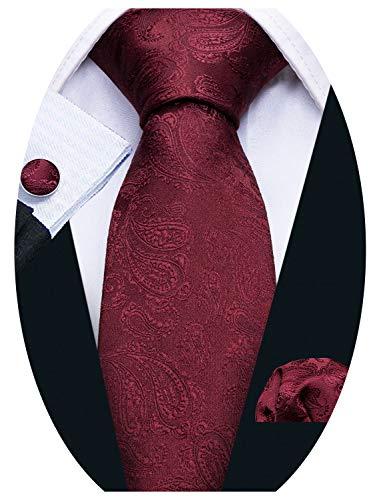 Barry.Wang Designer - Juego de corbata, pañuelo cuadrado para bolsillo y gemelos, para hombre, seda, diseño de Paisley Rojo granate Talla única