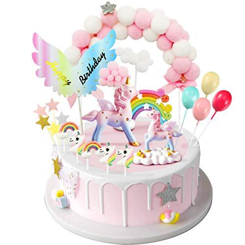 iZoeL Unicornio Decoración de Tartas Cumpleaños Happy Birthday Banderines Globos Arcoiris Cake Topper Decorar Tartas Infantiles Niñas