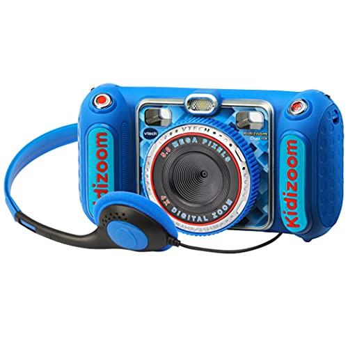 VTech - Kidizoom DUO DX, cámara de fotos para niños, vídeos, filtros, reproductor de música, juegos, USB, control parental, versión ESP, color azul (3480-520022)