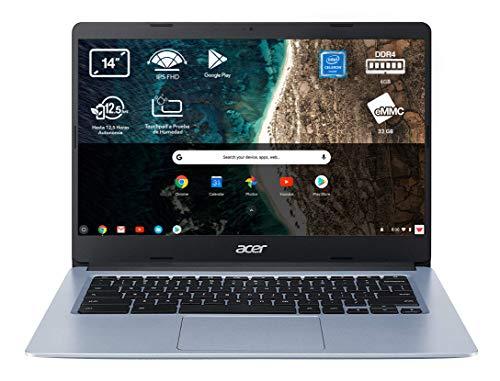Acer Chromebook 314 - Portátil 14' FullHD (Intel Celeron N4020, 4GB RAM, 64GB eMMc, Intel UHD Graphics, Chrome OS), Color Plata - Teclado QWERTY Español
