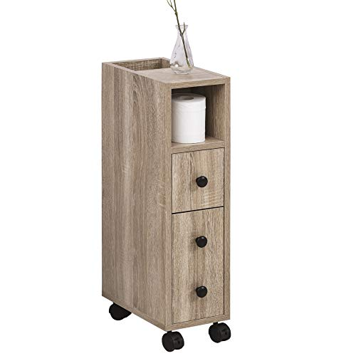 kleankin Armario de Baño Mueble para Baño Espacio Limitado con Ruedas Universales 2 Frenos Estantes Abiertos Armario Cajón 18x30x68,5 cm Madera Roble