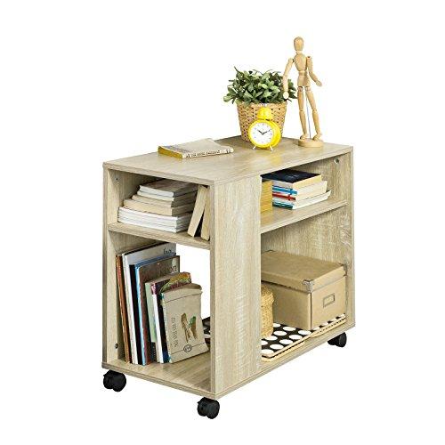 SoBuy FBT34-N,Mesa Auxiliares de Salón, Mesa de Centro, Mesa para el Café con Ruedas en Diseño Moderno con Repisa,ES