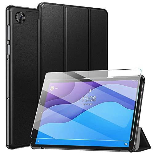 ZtotopCase Funda para Lenovo Tab M10 HD (2.a generación) TB-X306X/TB-X306F +1 Cristal Templado, Funda Protectora Plegable Ultrafina y Práctica para Lenovo Tab M10 HD 2nd Gen 10.1 Pulgada 2020, Negro