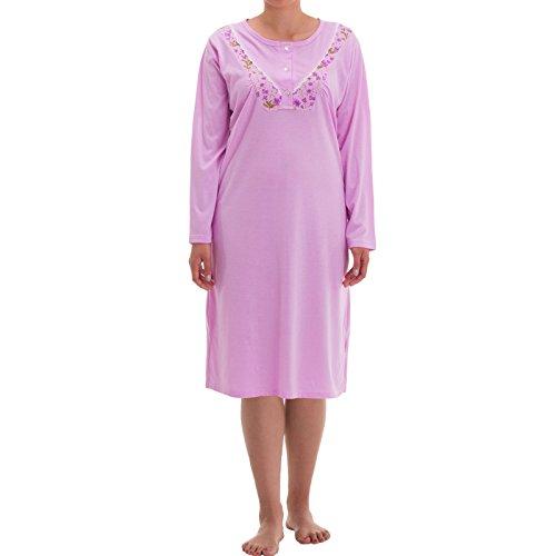 Camisón de mujer Lucky Mille Fleur, de manga larga, para la noche, con pequeño estampado de flores y bordado Flieder XL