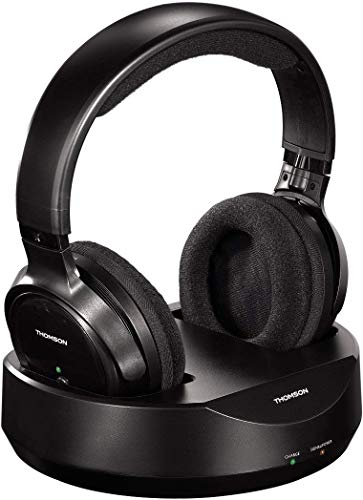 Thomson WHP3001 - Auriculares inalámbricos UHF (sistema PLL, alcance 100 m, jack stereo 3.5 mm, RCA) negro