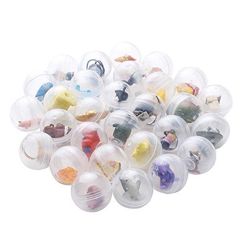 24 cápsulas transparentes tipo huevos sorpresa llenas de juguetes para niños y niñas | Diámetro 3.2 cm | fiestas infantiles de cumpleaños o de navidad | Juego de estilo piñata | Conjunto de Favores |