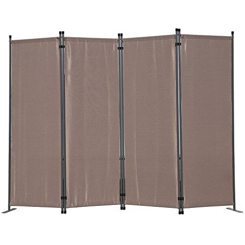 Angel Living Biombo Separador de 4 Paneles, Decoración Elegante, Separador de Ambientes Plegable, Divisor de Habitaciones, 225X165 cm (Marrón)