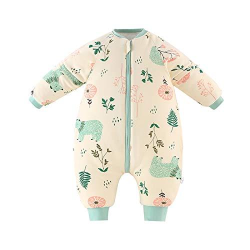 Bebé Saco de Dormir para Niños Niñas Manga Separable con Piernas Algodón Pijama Cremallera Mamelucos Mono Invierno Traje de dormir 1.5-3 años,amarillo(3.5Tog)
