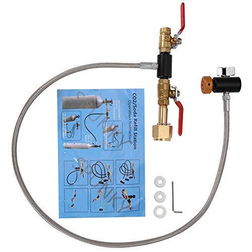 MAGT Sodastream Cilindro Co2, G1/2 Adaptador de Recarga de Cilindro de CO2 con Manguera, Conector de Recarga de CO2 para llenar el Tanque de sodastream(36 Pulgadas con Dispositivo de medición)