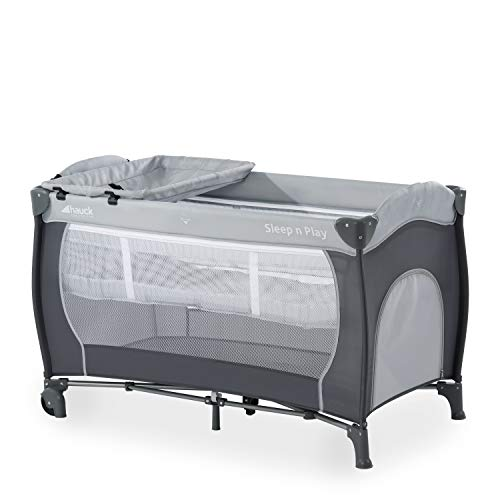Hauck Cuna de Viaje Sleep N Play Center, de Nacimiento hasta 15 kg, 120 x 60 cm, Doble Altura, Cambiador, Ruedas, Entrada Lateral, Plegable, Bolsa de Transporte, Gris