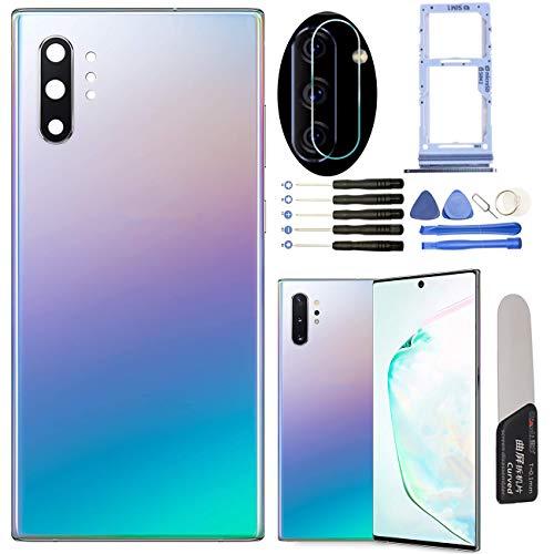 YHX-OU - Tapa de batería para Samsung Galaxy Note 10 Plus de 6,8 pulgadas, repuesto de la carcasa trasera + herramienta de instalación + 1 tarjeta SIM + 1 cristal para cámara (Aura Glow)