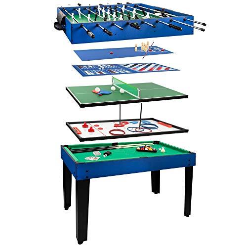 COLORBABY - Mesa multijuegos, Futbolín de madera, Mesa billar convertible, 12 juegos, Juguetes para adultos y niños a aprtir de 6 años