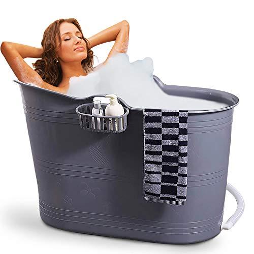 FlinQ Bañera Gris   Bañera portátil para adultos   Ideal para cuartos de baño pequeños   Bañera Adultos XL y Niños   Bañera de exterior   Bañera de plástico portátil para ducha