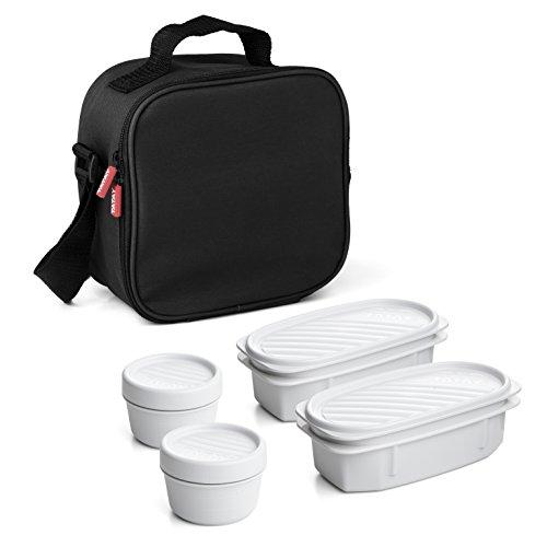TATAY 1167500 Urban Food Casual - Bolsa térmica porta alimentos con 4 tapers herméticos incluidos, 3 litros de capacidad, Negro, 22.5 x 10 x 22 cm