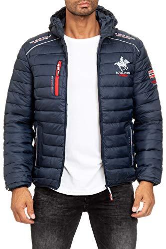 Geographical Norway Chaqueta de invierno para hombre, modelo Bryan, chaqueta acolchada con capucha, anorak forrado, chaqueta con capucha para el invierno/otoño (XL, azul marino)