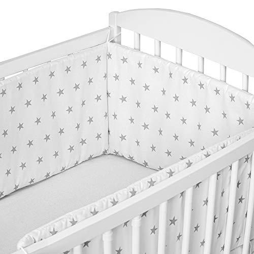 cojin protector cuna - chichonera bebe cuna Blanco con estrellas grises 180 x 30 cm