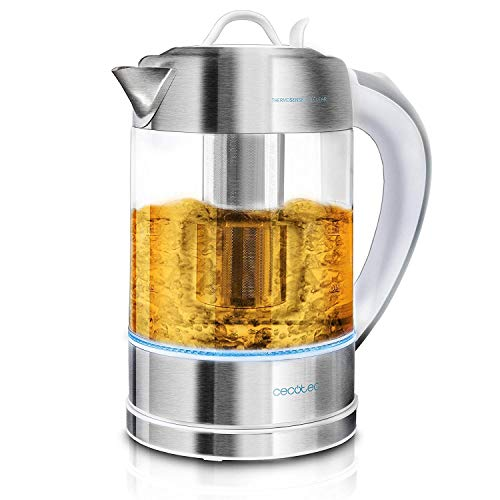 Cecotec Hervidor de Agua Eléctrico ThermoSense 370 Clear. 1,7 litros, Libre de BPA, 2200 W de Potencia, Base 360º, Filtro Antical Desmontable, Doble Sistema de Seguridad, Acero Inoxidable