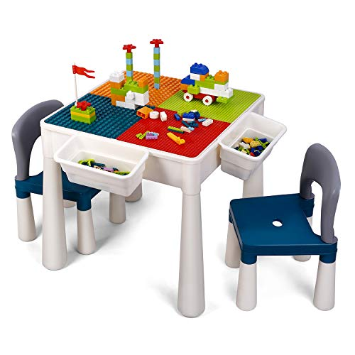 amzdeal Juego de Mesa y 2 Sillas Infantiles Mesa de Bloques para Niños Mesa de Actividades Multiusos con Bloques de partículas Grandes y Pequeños Mesa de Estudio Mesa de Comedor Mesa de Juego
