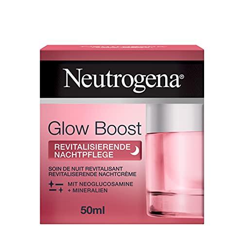 Neutrogena Glow Boost - Crema de noche revitalizante (50 ml), crema de noche regeneradora con neoglucosaminas y minerales, regenera la piel durante la noche y acelera la renovación celular natural.