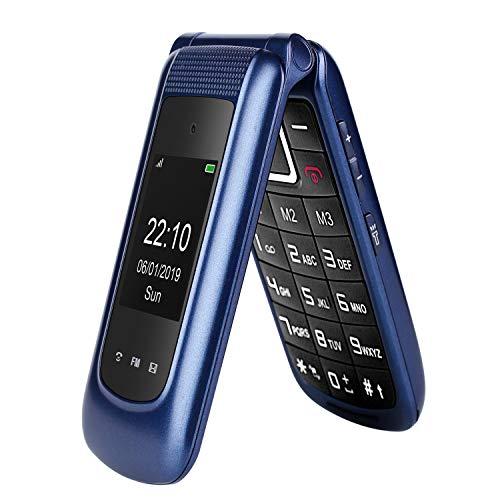gsm Teléfono Móvil Simple para Ancianos con Teclas Grandes,SOS Botones,ácil de Usar telefonos basicos para Mayores (Azul)