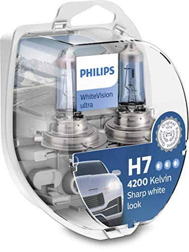 Philips WhiteVision ultra H7 bombilla faros delanteros, 4.200K, paquete doble