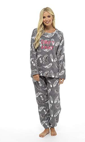 Pijama Mujer Invierno Suave Cómodo con Plumas Prosecco Estrellas Vario Estilos Pijamas Invernal Regalo para Ella (impresión de la Pluma Gris, M)