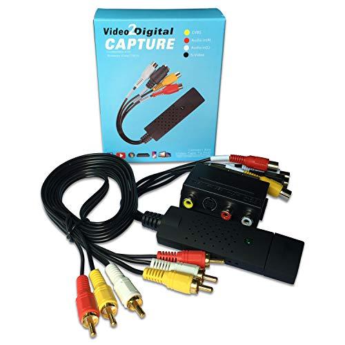 Convertidor de Video y Audio USB 2.0 de Tarjeta con Cable de Transferencia Captura Convertidora VHS VCR TV a DVD Soporta Win 7 8 10 2000 Xp Vista para Pasar Películas, Memoria Viejos al Laptop (Traje)