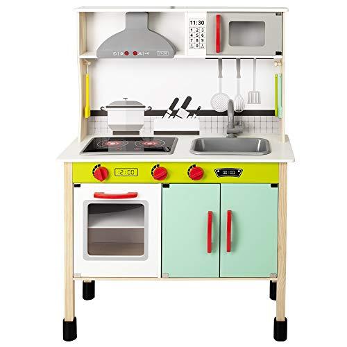 WOOMAX - Cocina juguete de madera con accesorios, utensilios de cocina, por niños 3 años, juguete Luz y Sonidos, juguete moderna, color verde