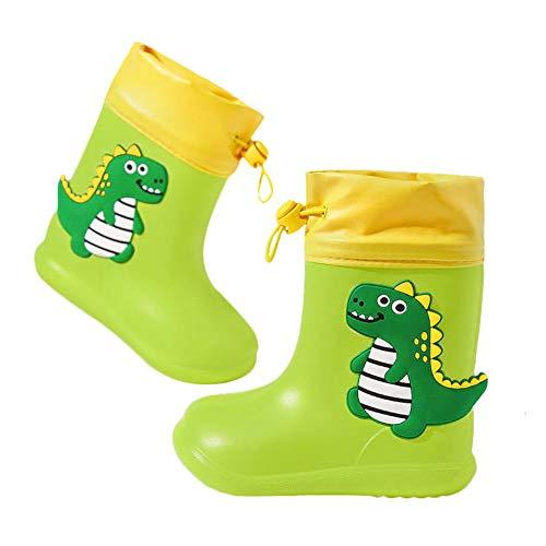 Botas de Agua Unisex Niños Niñas Luces Wellington Botas de Lluvia Impermeable y Antideslizante Rain boots 106 verde EU 29 (Tamaño de la etiqueta 190)
