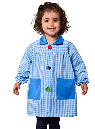 KLOTTZ 901B - Babi cuadros guardería Bata escolar con botones y amplio colorido. Protección ropa en comedores y manulidades en casa. Niñas color: CELESTE talla: 4