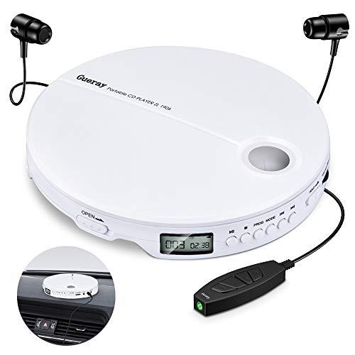 Gueray Reproductor de CD Portátil HiFi Classic CD Personal Discman con Audífonos Protección Anti-Saltos Pantalla LCD Walkman Blanco