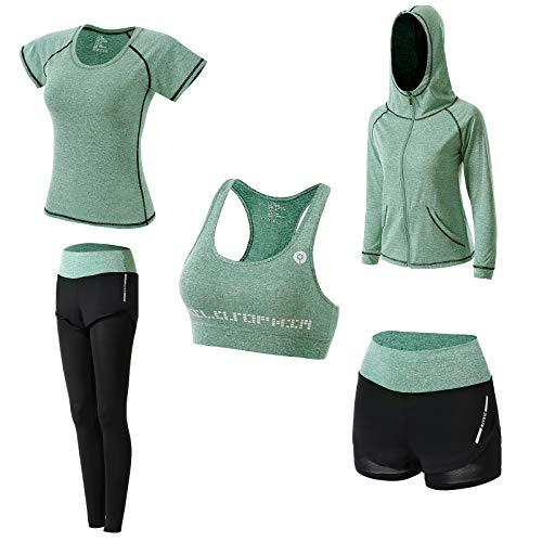 JULY'S SONG Conjunto Deportivo Mujer Conjunto Yoga 5 Piezas Conjuntos Deportivos para Mujer Yoga Fitness Deporte Chándales Deportivo Ropa de Correr Conjunto de Gimnasio Ejercicio